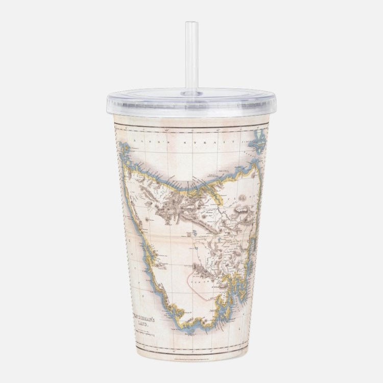 Vintage Map of Tasmani Acrylic Double-wall Tumbler