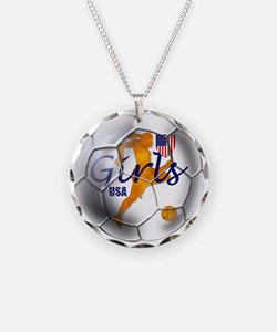US Girls Soccer Ball Necklace