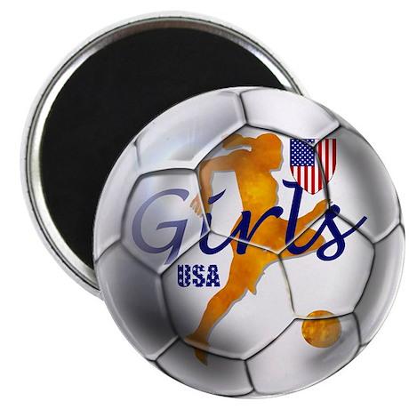 US Girls Soccer Ball Magnet