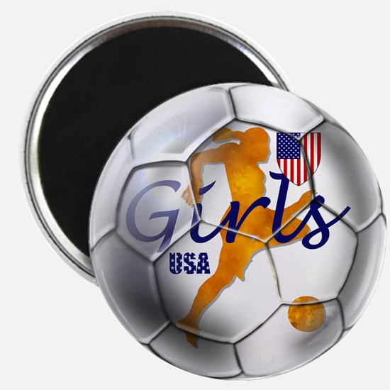 US Girls Soccer Ball Magnet