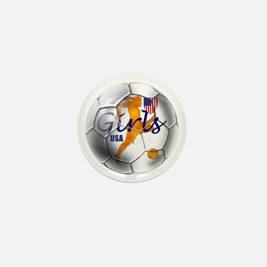 US Girls Soccer Ball Mini Button