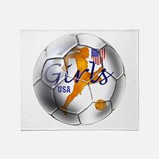 US Girls Soccer Ball Throw Blanket