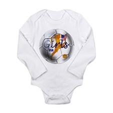 US Girls Soccer Ball Long Sleeve Infant Bodysuit