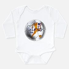 US Girls Soccer Ball Long Sleeve Infant Bodysuit