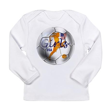 US Girls Soccer Ball Long Sleeve Infant T-Shirt