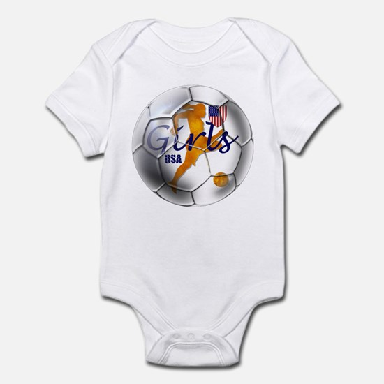 US Girls Soccer Ball Infant Bodysuit