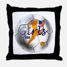 US Girls Soccer Ball Throw Pillow