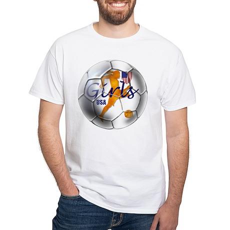 US Girls Soccer Ball White T-Shirt