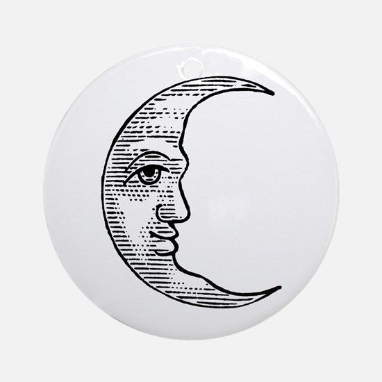 Vintage Crescent Moon Ornament (Round)