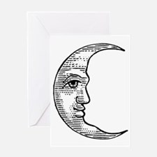 Vintage Crescent Moon Greeting Card