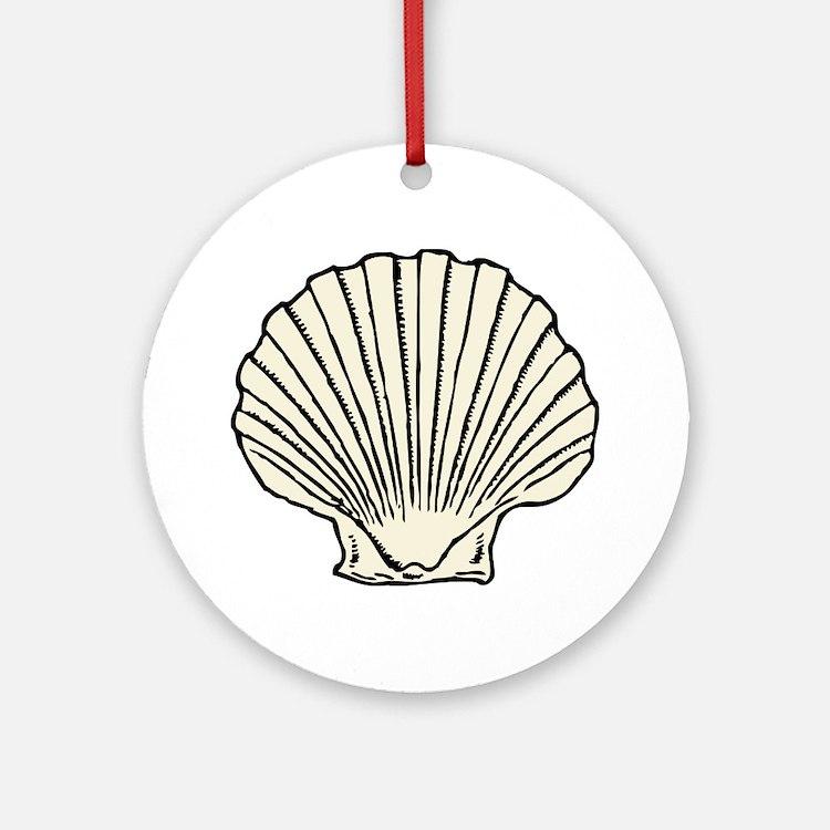 Sea Scallop Shell Ornament (Round)