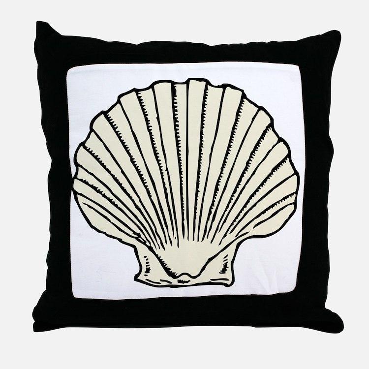 Sea Scallop Shell Throw Pillow