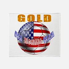 US Soccer Gold Throw Blanket