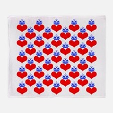 hearts & crowns (red/blue) Throw Blanket