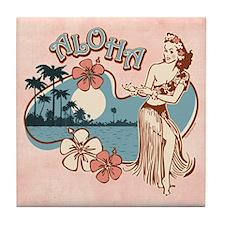Aloha Hula Girl Tile Coaster