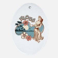 Aloha Hula Girl Ornament (Oval)