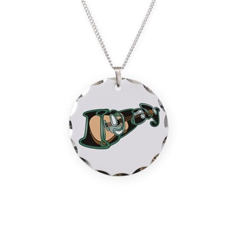 I Play Acoustic Guitar Necklace Circle Charm