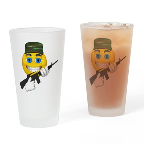 Smiling Soldier and Gun Pint Glass