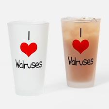 I Love (heart) Walruses Pint Glass