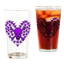 Purple Skulls in a Heart Pint Glass