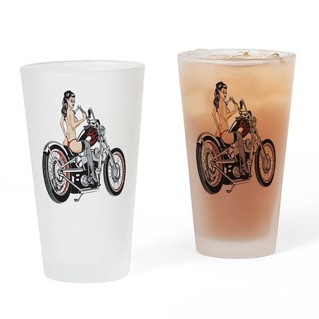 Sexy Biker Chick Pint Glass