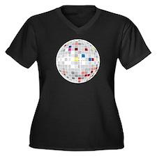 disco ball Women's Plus Size V-Neck Dark T-Shirt