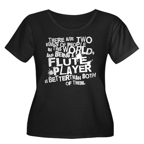 Flute Player Women's Plus Size Scoop Neck Dark T-S