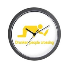 Drunken People Crossing Wall Clock