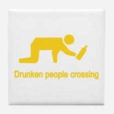 Drunken People Crossing Tile Coaster