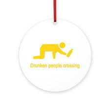 Drunken People Crossing Ornament (Round)