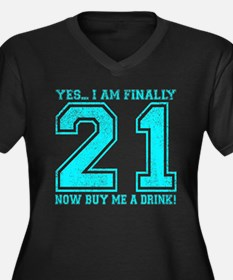 21st Birthday Women's Plus Size V-Neck Dark T-Shir