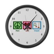 Peace Love Croquet Large Wall Clock