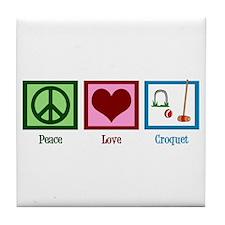 Peace Love Croquet Tile Coaster