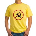 Sickle & Hammer No Communists Yellow T-Shirt