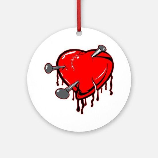 Heart & Nails Tattoo Ornament (Round)