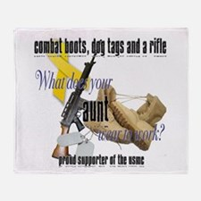 USMC What Does Your Aunt Wear? Throw Blanket