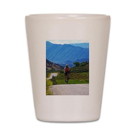 Cycling the Rockies Shot Glass