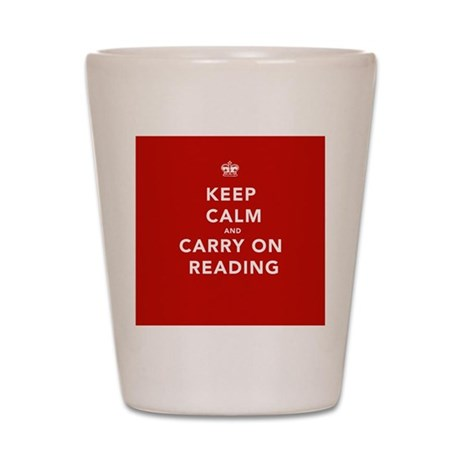 Keep Calm Carry On Reading Shot Glass