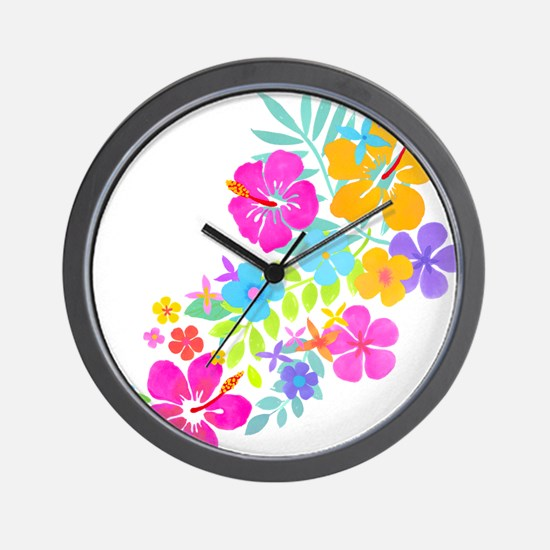 Tropical Flowers Wall Clock