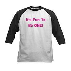 It's Fun To Be ONE! Pink Kids Baseball Jersey
