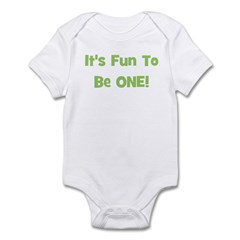 It's Fun To Be ONE! Green Infant Creeper