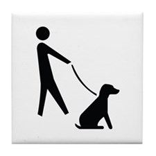 Walk Dog Image Tile Coaster