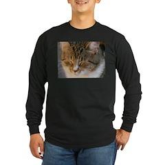 Tabby Cat Love Long Sleeve Dark T-Shirt