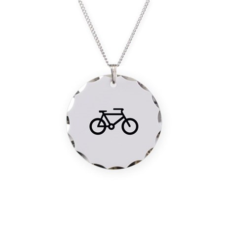 Bicycle Image Necklace Circle Charm