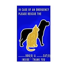 Cat & Dog Emergency Sticker Blue