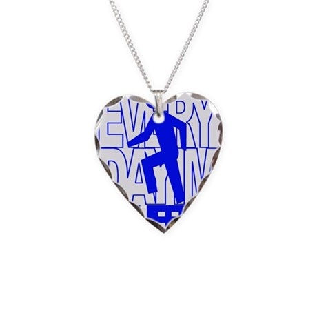Everyday I'm Shufflin Blue Necklace Heart Charm