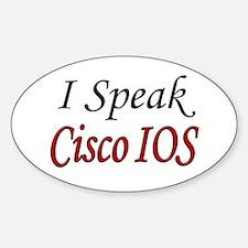 """I Speak Cisco IOS"" Oval Decal"