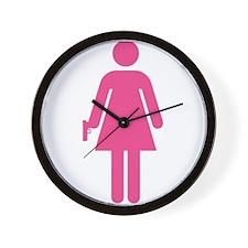 Woman w/ Gun Icon Wall Clock