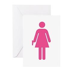 Woman w/ Gun Icon Greeting Cards (Pk of 20)