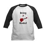 Being 7 Rocks! Guitar Kids Baseball Jersey